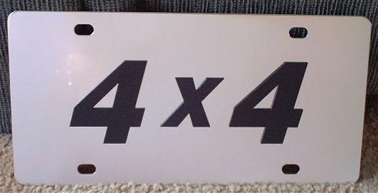 4 X 4 black vanity license plate car tag