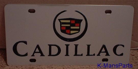 Cadillac emblem w/block letters Color S/S plate