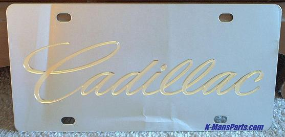 Cadillac script Gold S/S plate