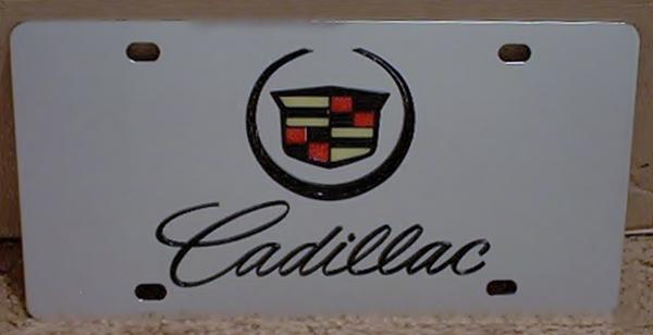 Cadillac script and emblem vanity license plate