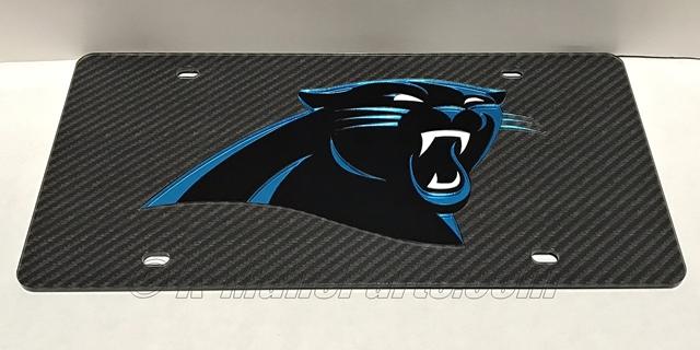 Carolina Panthers Carbon Fiber License Plate Tag