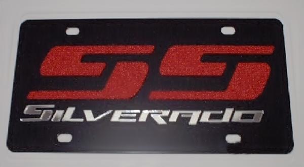 Chevrolet Silverado SS black steel vanity license plate