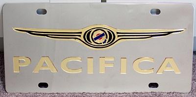Chrysler Pacifica gold vanity license plate