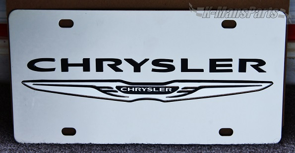 Chrysler with  Wing Emblem (black/mirror) S/S plate