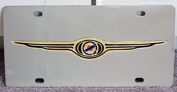 Chrysler gold wings stainless steel license plate