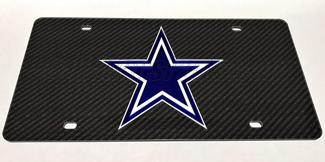 Dallas Cowboys Carbon Fiber License Plate Tag