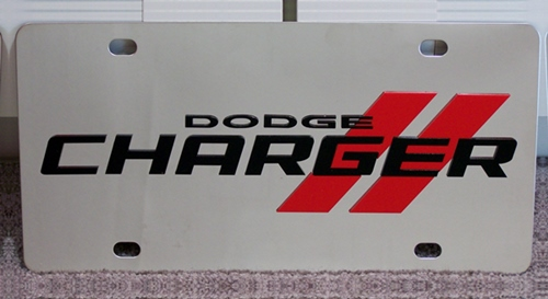 Dodge Charger stripes vanity license plate car tag