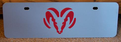 Dodge Ram red s/s plate half high