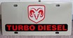 Dodge Ram Turbo Diesel vanity license plate car tag