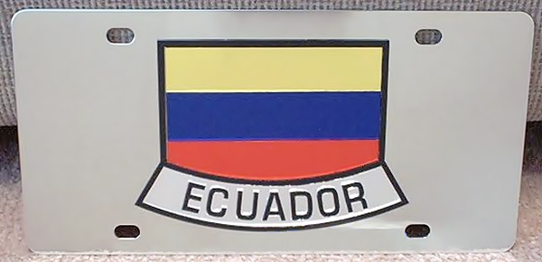 Ecuador flag stainless steel license plate