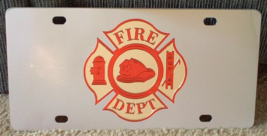 Fire Department vanity license plate car tag