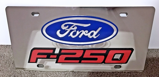 Ford F-250 stainless steel license plate red