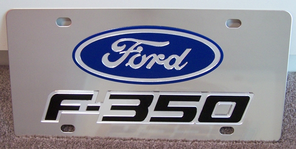 Ford F-350 stainless steel license plate