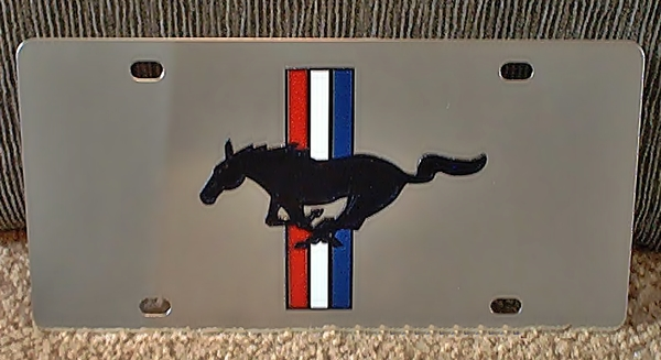 Mustang retro horse and stripes stainless steel plate