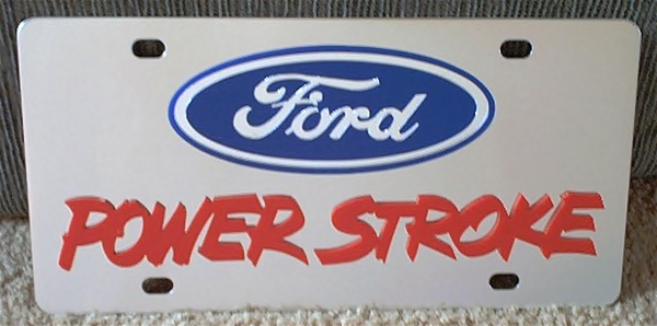 Ford Oval Power Stroke Red Letters Stainless Steel License Plate