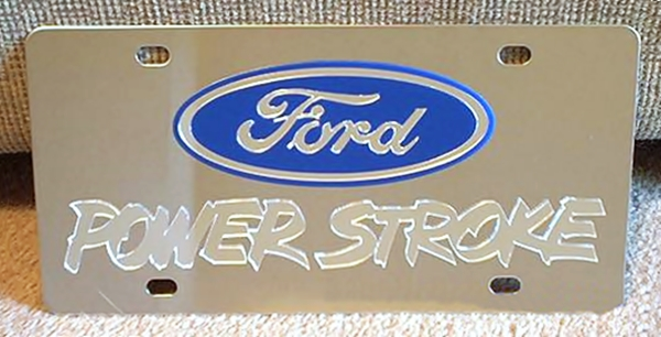 Ford Power Stroke Turbo Diesel Mirror s/s plate