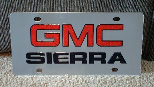 GMC Sierra vanity license plate tag