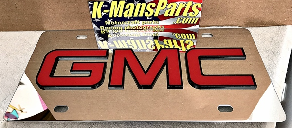 GMC stainless steel license plate tag