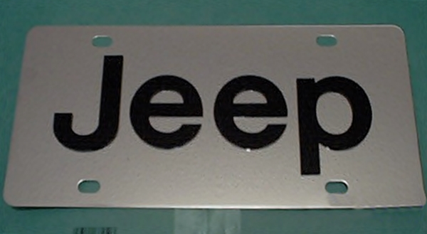 JEEP Black stainless steel license plate tag