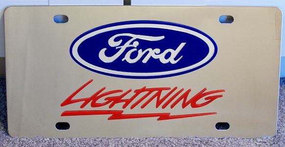 Ford F-150 Lightning Red s/s plate