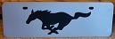 Mustang running horse black s/s plate half high