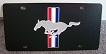 Mustang horse & bars black plate