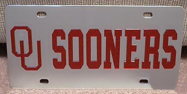 Oklahoma Sooners vanity license plate car tag