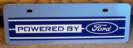 Powered by Ford blue s/s plate half high