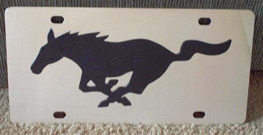 Mustang running horse Black s/s plate