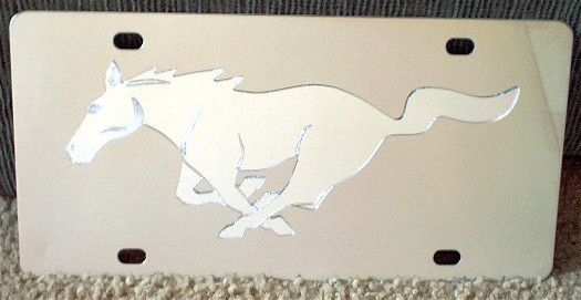Mustang running horse Mirrored s/s plate