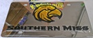 Southern Miss Golden Eagles vanity license plate car tag