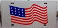 US American flag waving vanity license plate car tag