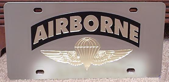 US Army Airborne vanity license plate car tag