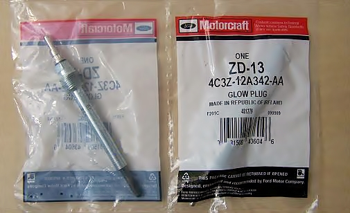 Motorcraft ZD13 Glow Plug 6.0 Power Stroke Turbo Diesel pair