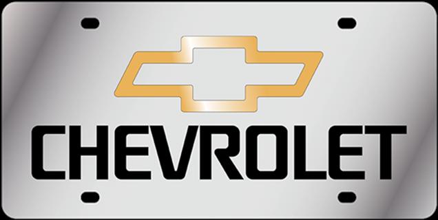Chevrolet gold Bowtie script vanity license plate car tag