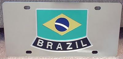 Brazil flag stainless steel license plate tag