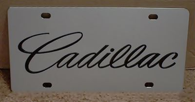 Cadillac script black stainless steel license plate tag