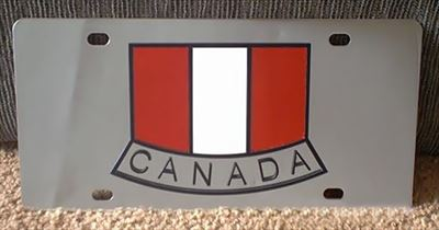 Canada flag stainless steel license plate tag