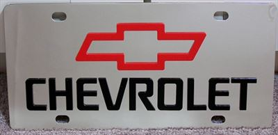 Chevrolet red Bowtie script vanity license plate car tag