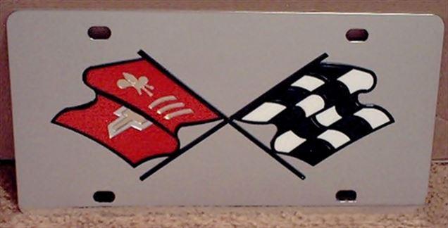Chevrolet Corvette C2 Crossed Flags vanity license plate car tag