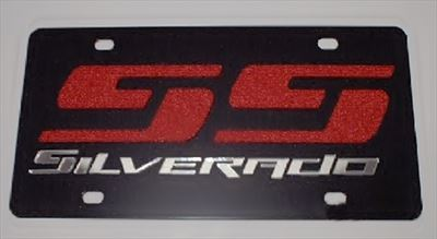 Chevrolet Silverado SS black steel vanity license plate