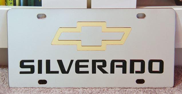 Chevrolet Silverado stainless steel license plate