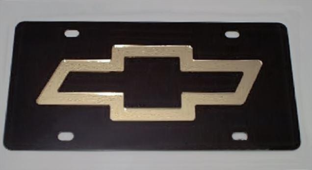 Chevrolet Bowtie Gold vanity black plate tag