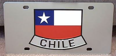 Chile flag stainless steel vanity license plate