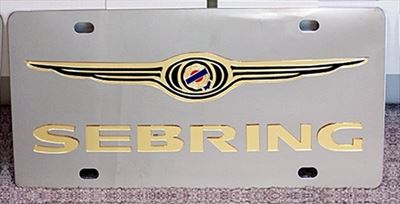 Chrysler Sebring gold stainless license plate tag