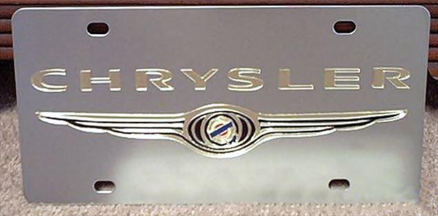 Chrysler gold with Emblem vanity license plate