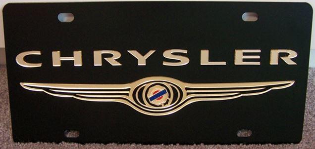 Chrysler gold emblem vanity black plate tag