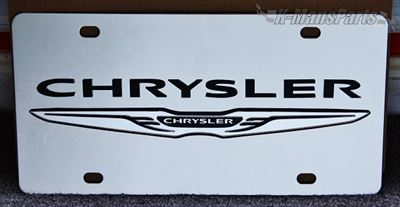 Chrysler with Wing Emblem black/mirror S/S plate