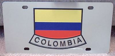 Colombia flag stainless steel license plate