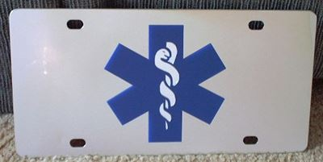 EMT emblem vanity license plate car tag